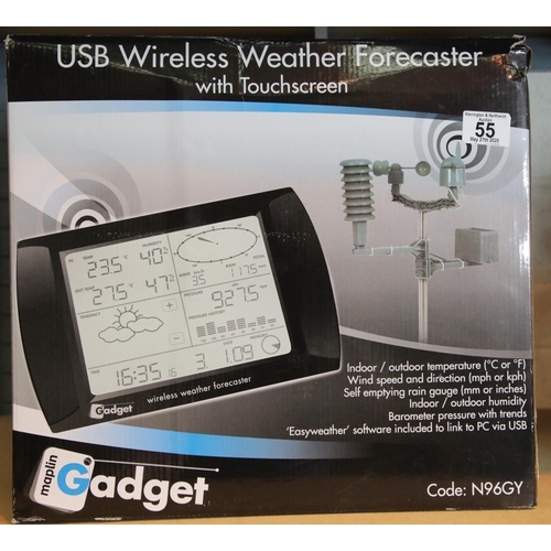 55 - USB wireless weather forecaster, boxed and appears unused. P&P Group 2 (£18+VAT for the first lot an...