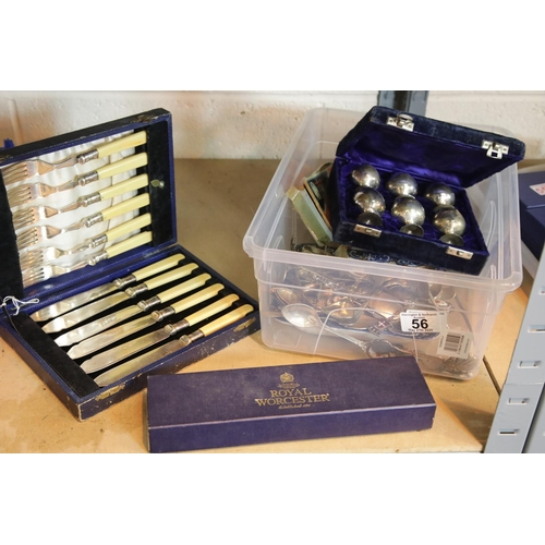 56 - Collection of cutlery to include Royal Worcester cake slice. P&P Group 2 (£18+VAT for the first lot ...