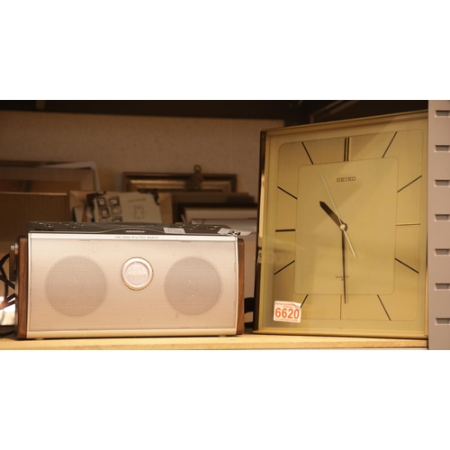 24 - Mixed lot including picture frames, DAB radio, digital camera and Seiko wall clock. This lot is not ...