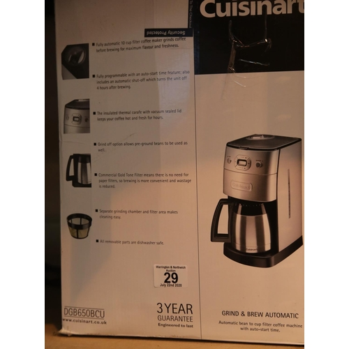 29 - Cuisinart coffee machine. This lot is not available for in-house P&P.