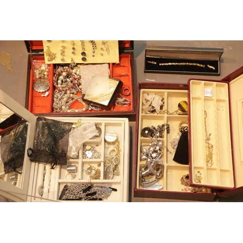 53 - Three jewellery boxes with costume jewellery contents. P&P Group 3 (£25+VAT for the first lot and £5...