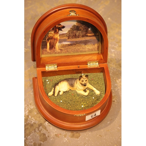 14 - Musical I Love German Shepherds casket. P&P Group 2 (£18+VAT for the first lot and £2+VAT for subseq...