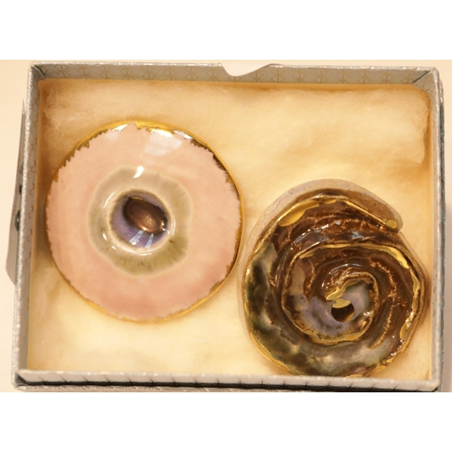 34 - Two unusual glazed ceramic brooches. P&P Group 1 (£14+VAT for the first lot and £1+VAT for subsequen...