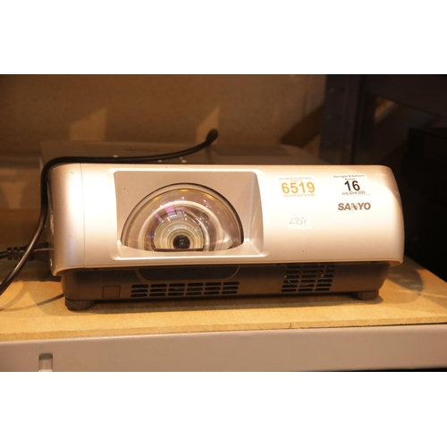 16 - Sanyo PLC-WL2500 Hidef Ultra Short Throw video projector. P&P Group 3 (£25+VAT for the first lot and...
