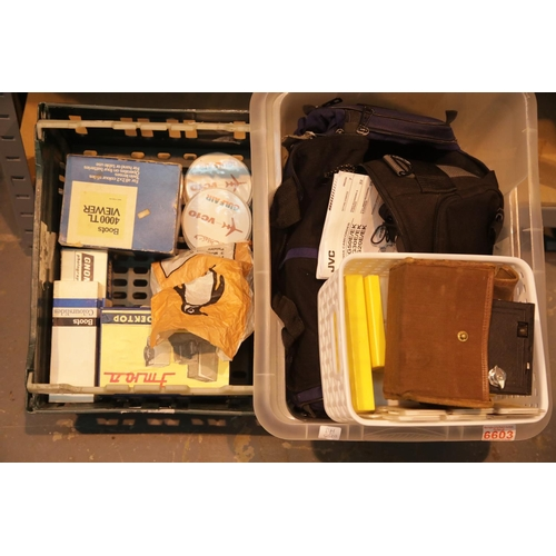 18 - Boxes of slide viewer projector, modern cine camera and box camera. P&P Group 3 (£25+VAT for the fir...