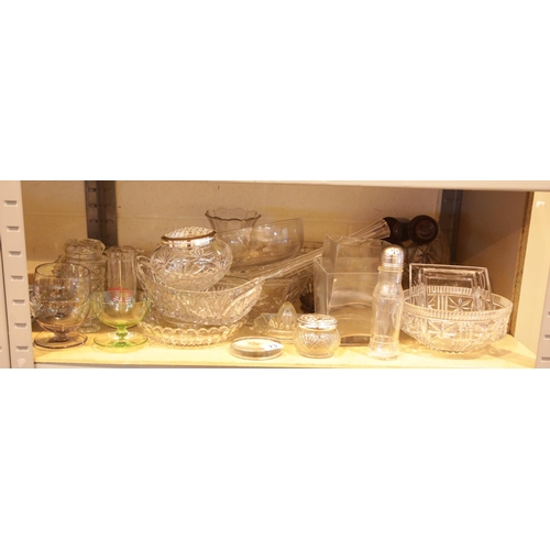 4 - Shelf of mixed glass. This lot is not available for in-house P&P.