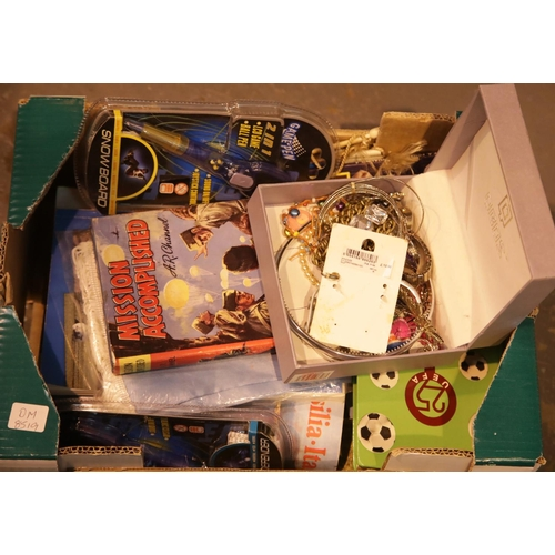5 - Box of football ephemera and costume jewellery. This lot is not available for in-house P&P.