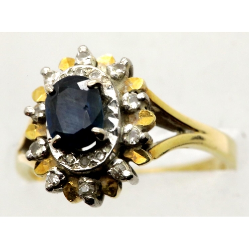 1005 - 9ct gold, sapphire and diamond ring, size O/P, 6.5g. P&P Group 1 (£14+VAT for the first lot and £1+V...