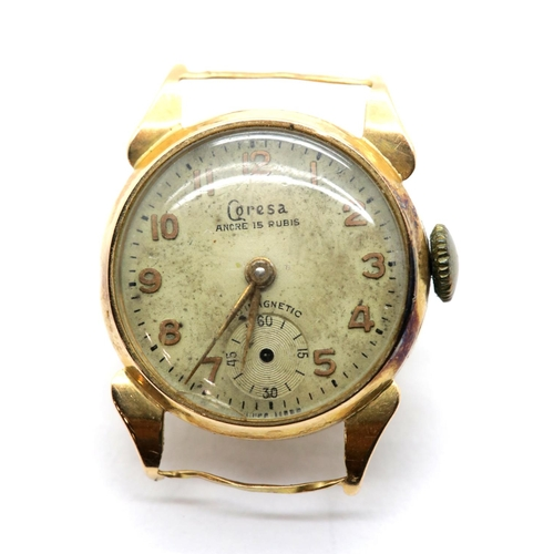 1007 - 18ct gold Caresa wristwatch watch head, 7.8g, D: 20 mm. P&P Group 1 (£14+VAT for the first lot and £...