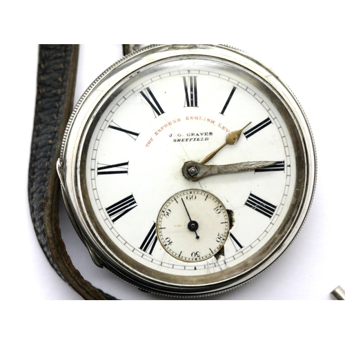 1010 - JG Graves hallmarked silver pocket watch with key. Case D: 52 mm, 124g. Not working at lotting. P&P ...