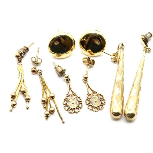 1013 - Four pairs of assorted 9ct gold earrings, 8.0g. P&P Group 1 (£14+VAT for the first lot and £1+VAT fo...