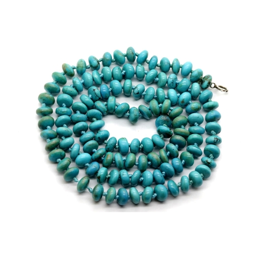 1015 - Turquoise bead necklace, L: 74 cm approximately, 46g. P&P Group 1 (£14+VAT for the first lot and £1+...