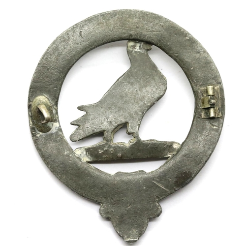 1017 - Antique white metal Scottish clan Ralston brooch with Fide et Marte motto, D: 5 cm, missing back pin...