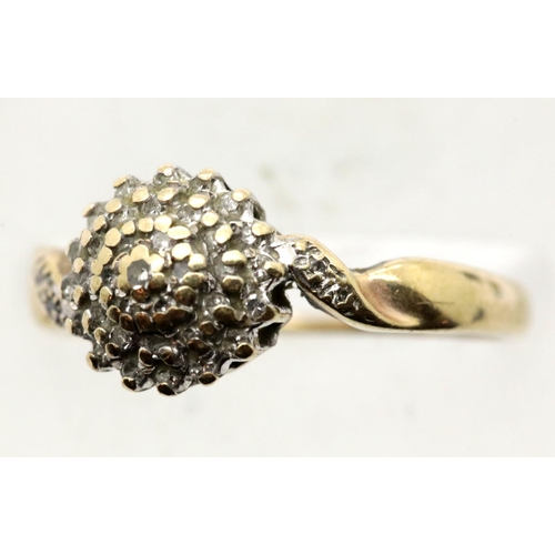 1021 - 9ct gold and diamond set ring, size N, 2.4g. P&P Group 1 (£14+VAT for the first lot and £1+VAT for s...