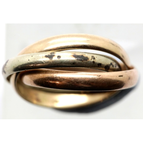 1024 - Three colour gold Russian style wedding ring, size M, 4.9g, no hallmarks. P&P Group 1 (£14+VAT for t...