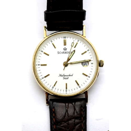 1025 - 9ct gold sovereign wristwatch on a leather strap, verso lightly engraved, working at lotting, dial D...