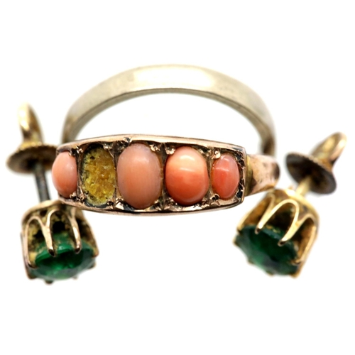1027 - 9ct gold band size L and a 9ct gold coral set ring with 5 stones, one missing, size N, 3.4g and a pa...