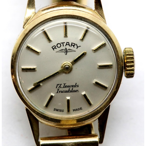 1029 - 9ct gold Rotary ladies wristwatch on a 9ct gold bracelet, 15.8g, not working at lotting. P&P Group 1...