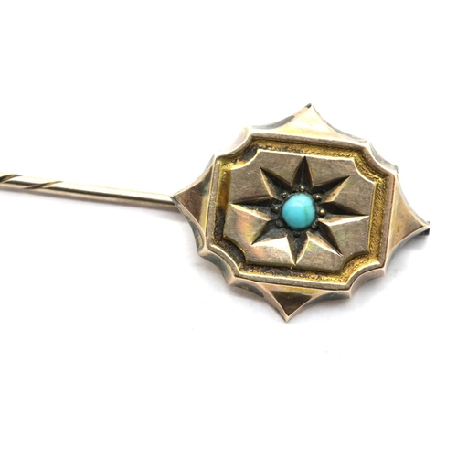1033 - Presumed 9ct gold stick pin with turquoise centre, 1.8g, L: 7.5 cm. P&P Group 1 (£14+VAT for the fir...