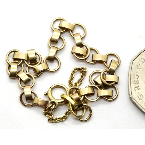1035 - Ladies gold plated link bracelet, 5.6g. P&P Group 1 (£14+VAT for the first lot and £1+VAT for subseq...