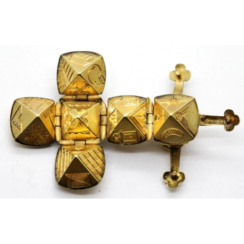 1036 - 9ct gold Masonic folding cross pendant, 7.5g, L: 4.3 cm opened. P&P Group 1 (£14+VAT for the first l...
