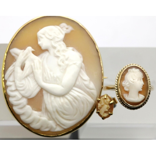 1040 - Cameo set; brooch, ring, size K, and a single earring, total weight 13g, brooch L: 4 cm. P&P Group 1...