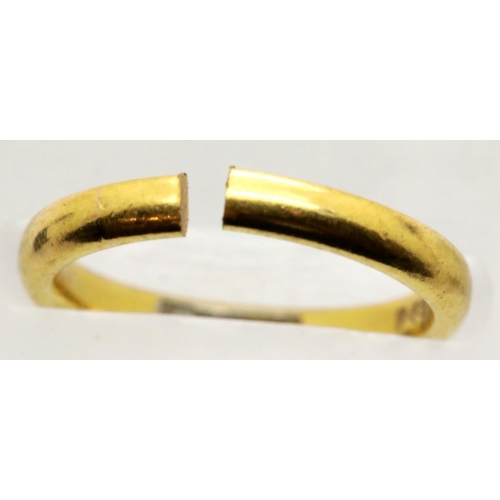 1042 - Cut 22ct gold ring, 3.9g, size J/K. P&P Group 1 (£14+VAT for the first lot and £1+VAT for subsequent...