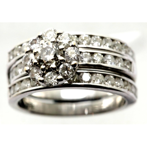 1045 - Combined wedding and engagement rings with three rows of diamonds in 18ct white gold. Central diamon...