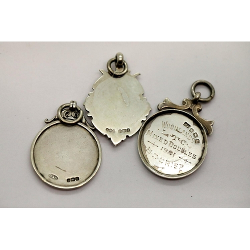 1053 - Three hallmarked silver fobs, 25g. P&P Group 1 (£14+VAT for the first lot and £1+VAT for subsequent ...