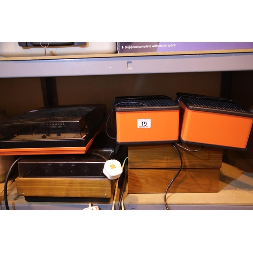 19 - Two retro record decks, Artur stereo and CTC Super with two pairs of speakers. Not available for in-...