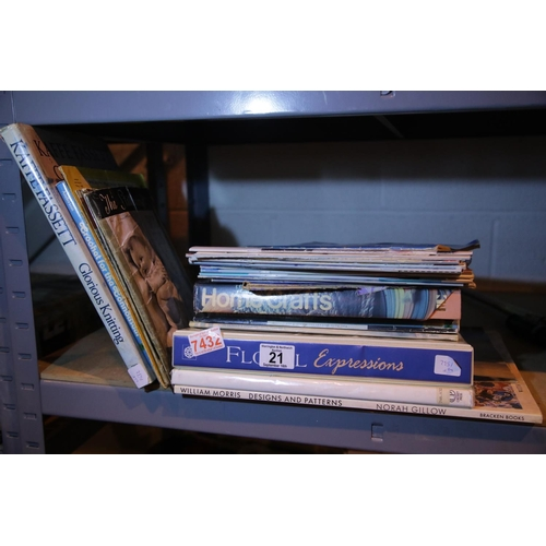 21 - Collection of mixed craft books including knitting, fashion, floristry and design. Not available for...