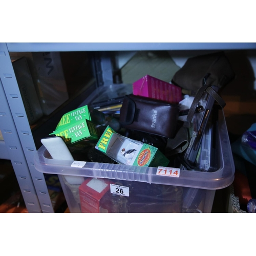 26 - Large box of unsorted collectable items including brassware. Not available for in-house P&P...