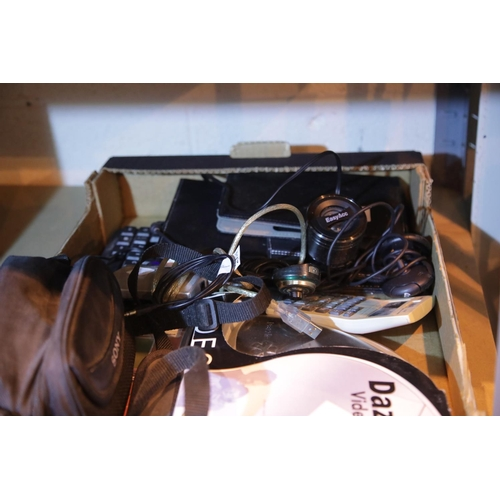 36 - Box of computer related items including tablet cases, boxed video creator etc. Not available for in-...