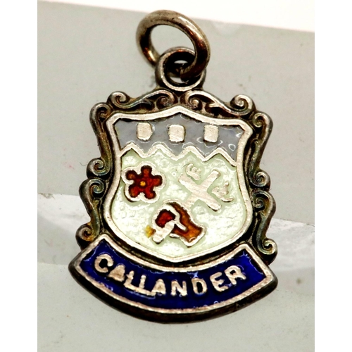 60 - Sterling silver Callander clan charm (Scottish). P&P Group 1 (£14+VAT for the first lot and £1+VAT f...