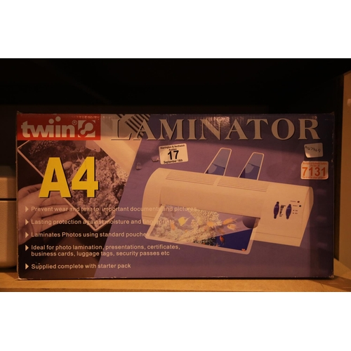 17 - A4 Laminator, Twiin LMA400, in original box. Not available for in-house P&P...