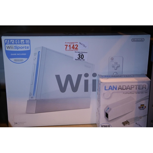 30 - Nintendo Wii sports and Lan adaptor in original packaging. Not available for in-house P&P...