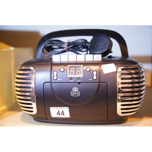 44 - Black GPO PCD299 a 3-in-1 FM/AM Radio, CD and Cassette player with power cable. Not available for in...