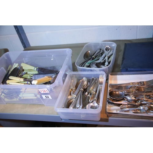 52 - Large collection of silver plated cutlery and faux bone handled cutlery including some elaborate ser...