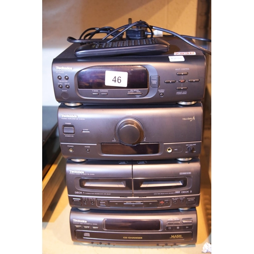 46 - Technics SE-CH515A 3disc Midi hifi with remote control, vendor confirms full working order. Not avai...