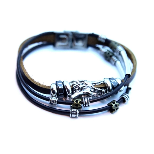 55 - Gents leather cord bracelet with white metal dragon. P&P Group 1 (£14+VAT for the first lot and £1+V...