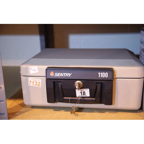 18 - Sentry 100 grey fireproof safe with keys. Not available for in-house P&P...