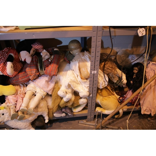 23 - Two shelves of mixed dolls and teddies. Not available for in-house P&P....