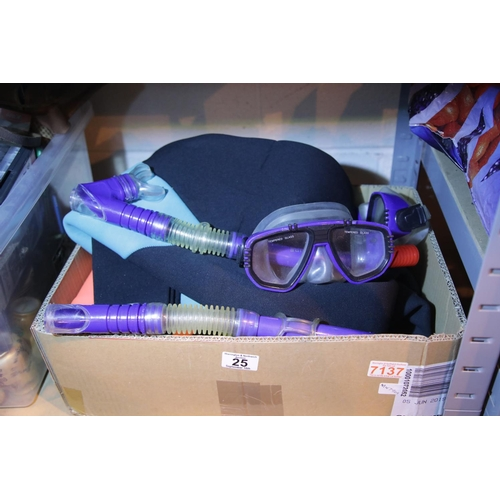 25 - 2 x small West Coast wetsuits; 2 Speedo snorkels and 2 Speedo glass goggles/facemask. Not available ...