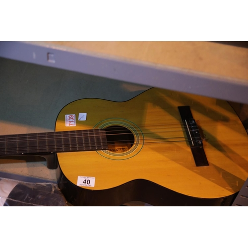 40 - Classical wooden guitar. Not available for in-house P&P...