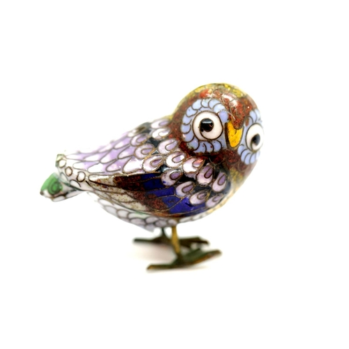 56 - Small enamelled owl figurine, L: 5 cm. Not available for in-house P&P....