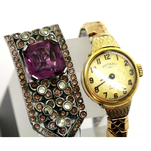 59 - Gold plated Rotary wristwatch and an amethyst set clip. P&P group 1 (£14 + VAT for the first lot and...