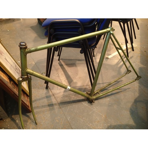 8 - Green metal bike frame. Not available for in-house P&P....