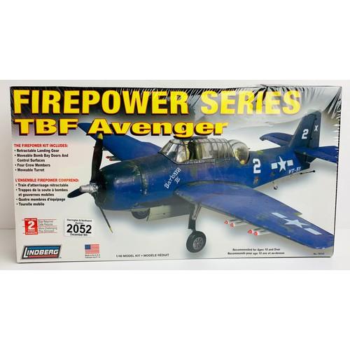 2052 - Lindberg FirePower Series TBF Avenger Model Kit 1/48 Kit - Boxed P&P Group 1 (£14+VAT for the first ...