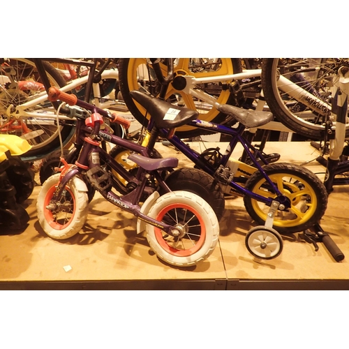 36 - Three children's bikes, one with stabilizers aged 2-3 years, one for aged 3-4 and another 2-3. Not a...