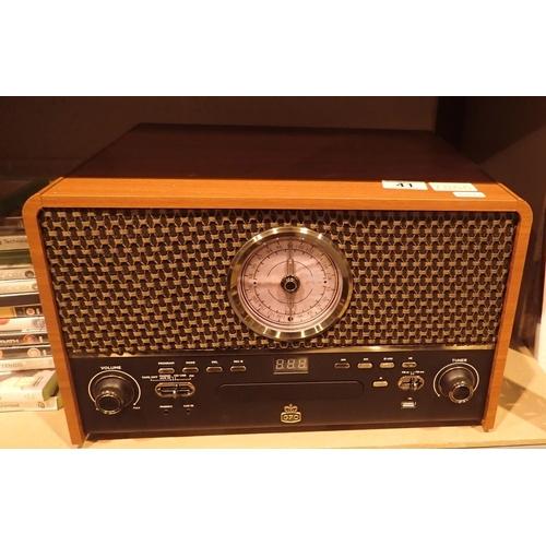 41 - GPO Chesterton retro music centre, three speed turntable, CD/MP3/USB player, FM radio, MP3 recorder,...